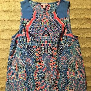 Lilly Pulitzer Tic Tac Tile silk tank Small